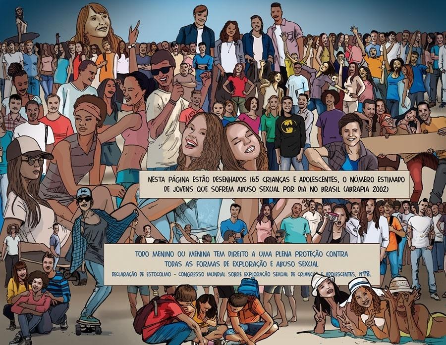 Capítulo 5: Para encerrar a reportagem, os jornalistas lembram que 165 crianças e adolescentes sofrem abusos sexuais no Brasil todos os dias.