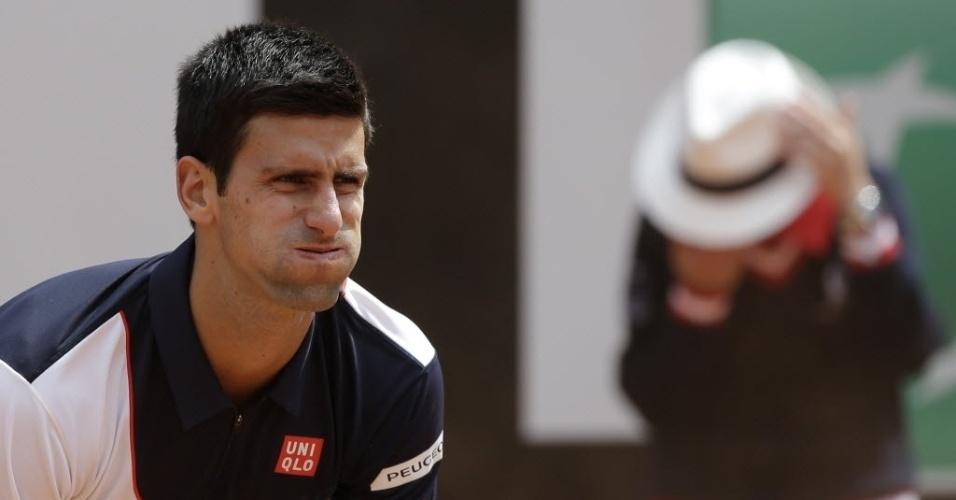 13.mai.2014 - Djokovic lamenta durante a partida contra o tcheco Radek Stepanek no Masters 1000 de Roma