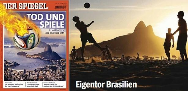 Capa da revista Der Spiegel destaca a Copa no Brasil, com manchete alarmista: 'Morte e futebol'
