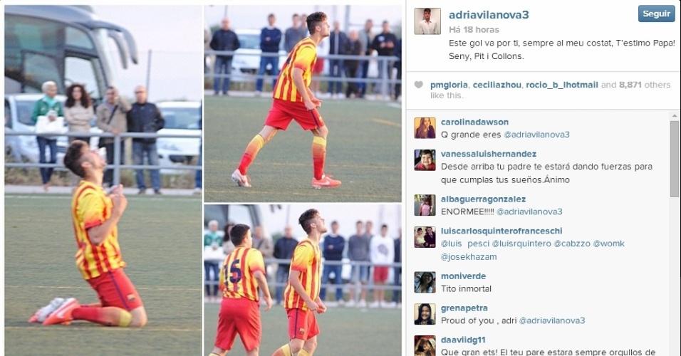 14.mai.2014 - Adrià Vilanova marca pelo juvenil do Barcelona e homenageia o pai