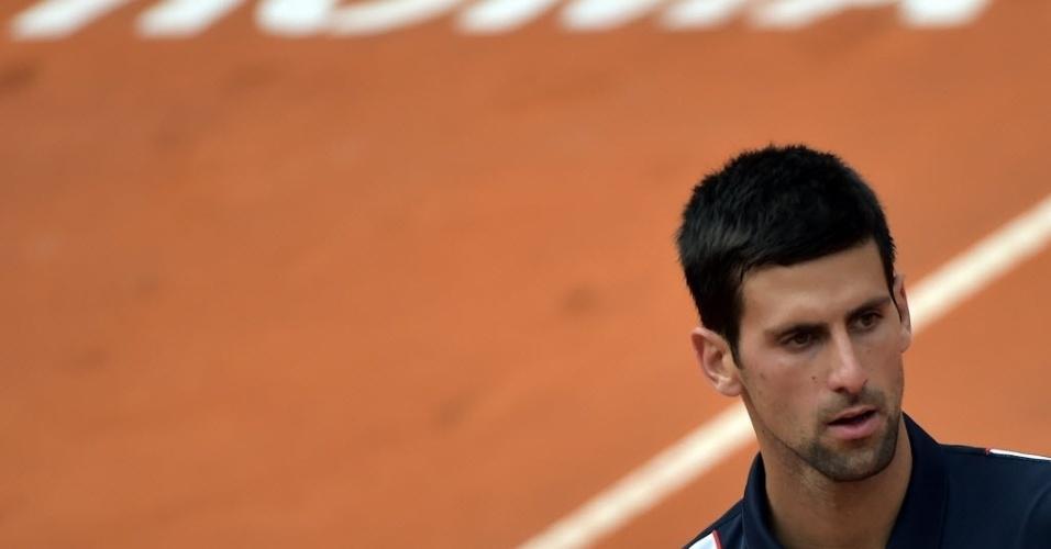 16.mai.2014 - Djokovic lamenta erro na partida contra David Ferrer pelas quartas de final do Masters 1000 de Roma