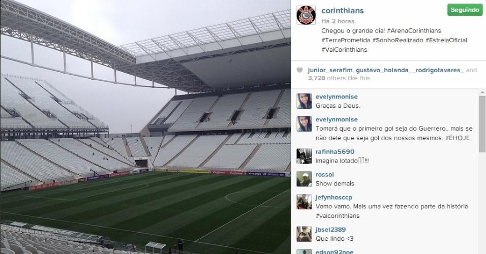 18.mai.2014 - Instagram oficial do Corinthians publica foto com o palco do Itaquerão pronto para a inauguração neste domingo, contra o Figueirense, pelo Campeonato Brasileiro