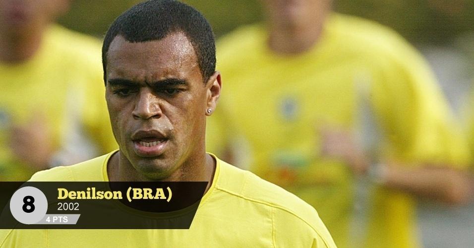Denílson (Brasil, 2002) - 4 pontos: 'Dribles pouco funcionais, firulas e futebol ruim nos clubes que defendeu. Mesmo assim, ganhou de presente a convocação ao Mundial e a marca na história de fazer parte do penta', Birner