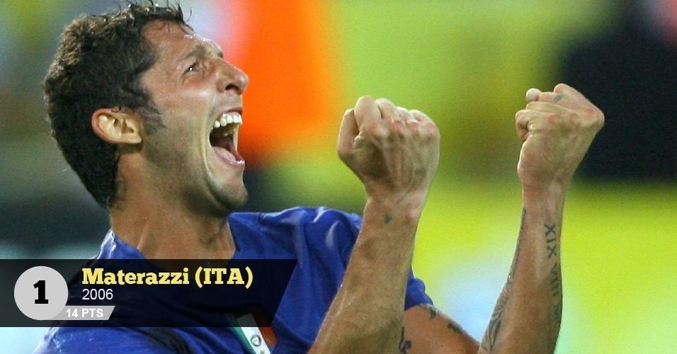 Materazzi (Itália, 2006) - 14 pontos: 'O incrível italiano que nasceu e morrerá tosco', diz Juca Kfouri