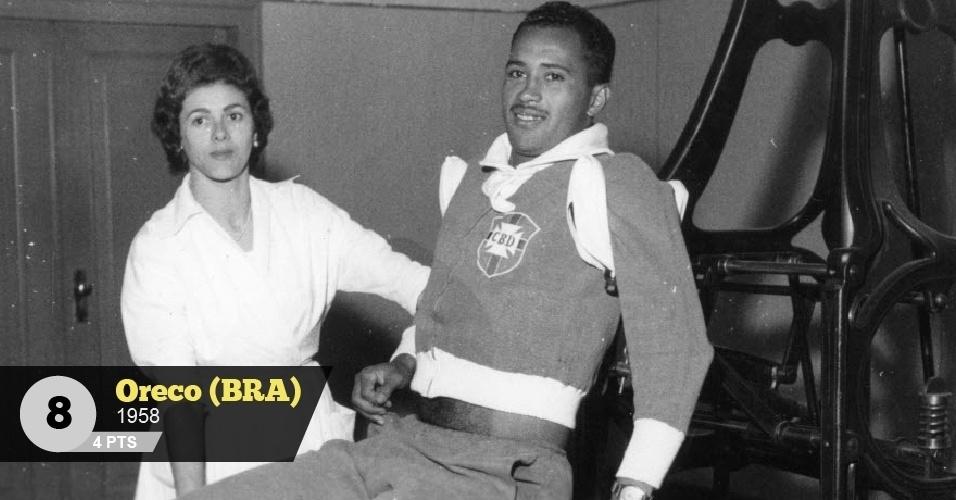 Oreco (Brasil, 1958) - 4 pontos: 'Reserva de Nilton Santos em 1958, o lateral corintiano, ao contrário do titular, era conhecido apenas por sua boa vontade em campo', diz Menon