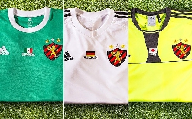 Camisas do Sport com cores das seleções da Copa