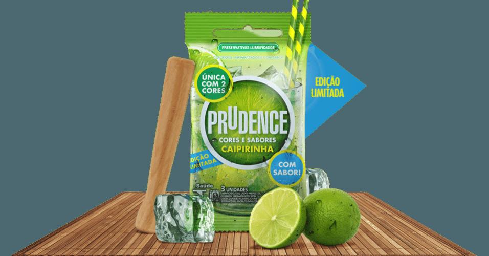 Camisinha verde e amerela, com sabor caipirinha, fabricada pela Prudence