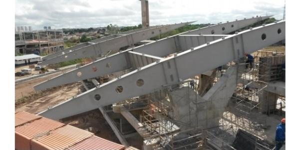 Imagem da obra do COT da UFMT divulgada pelo Tribunal de Contas de Mato Grosso no último dia 16; para secretário da Secopa, trabalhos estão 95% concluídos
