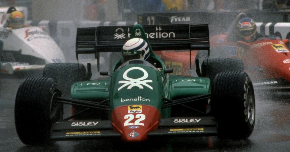 03.06.84 - Riccardo Patrese, Michele Alboreto e Ayrton Senna durante o GP de Mônaco de 1984