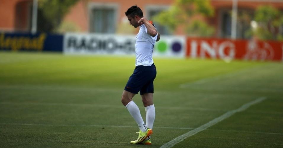 22.mai.2014 - Robin Van Persie sentiu dores no joelho durante treino da Holanda nesta quinta-feira