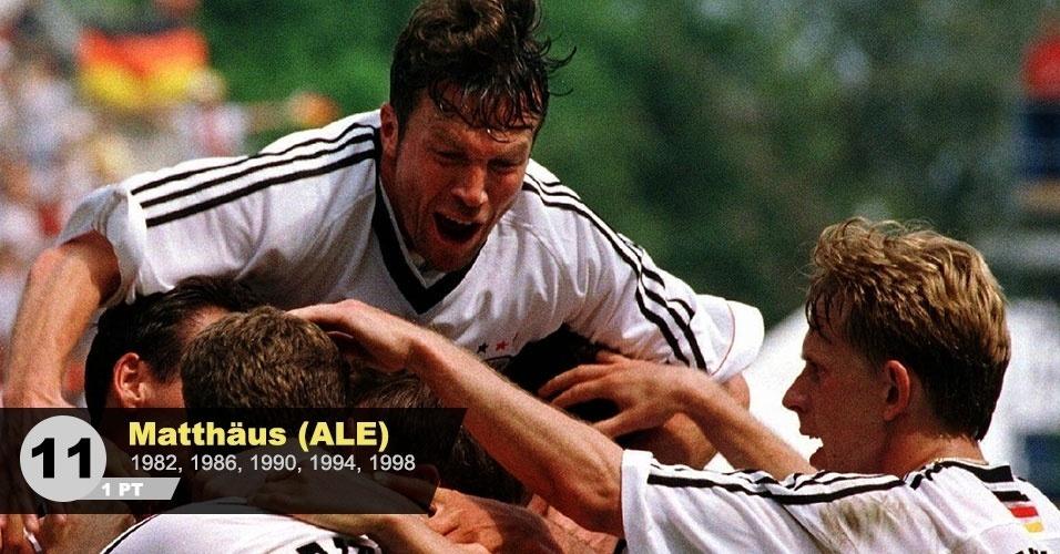 """11º lugar - Matthaus: """"Meio-campista de técnica e líder da Alemanha no tri do mundial. Foi um dos jogadores que mais atuou na história das Copas"""", diz Neto"""