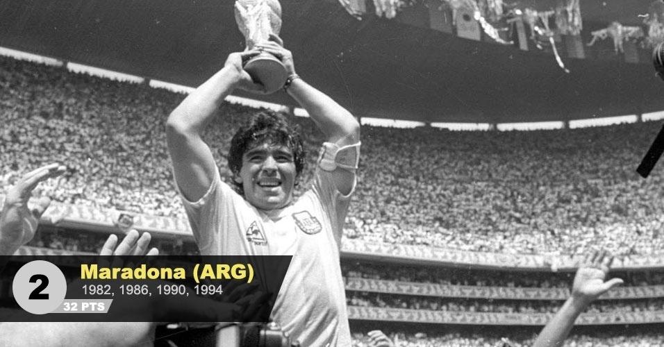 """2º lugar - Maradona: """"Responsável pelo título argentino de 1986 e brilhante ainda em 1990, mesmo baleado"""", diz Juca"""