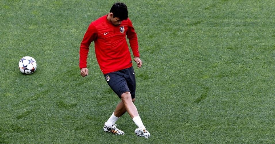 23.mai.2014 - Diego Costa treina em Lisboa com o Atlético de Madri para a final da Liga