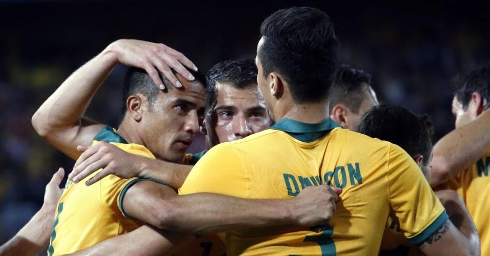 Jogadores da Austrália comemoram gol de empate contra a África do Sul