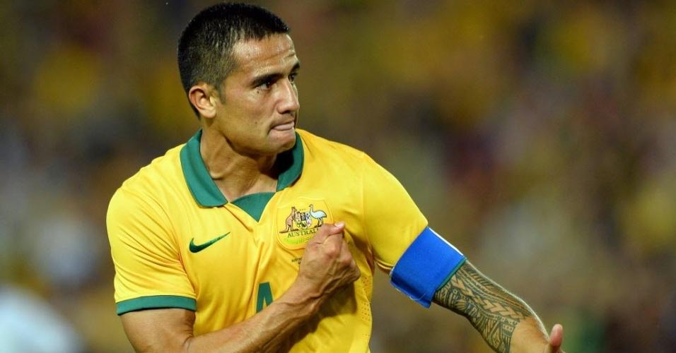Tim Cahill comemora ao abrir o placar para a Austrália no amistoso contra a África do Sul