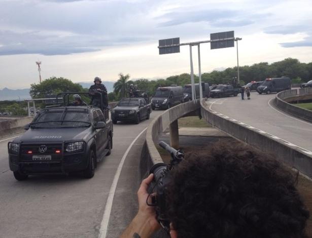 Tropa de Choque foi acionada no Rio de Janeiro após manifestação na entrada de hotel da seleção