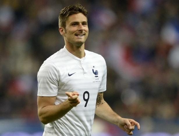 27.mai.2014 - Giroud comemora seu primeiro gol contra a Noruega; ele marcou 2 para a França