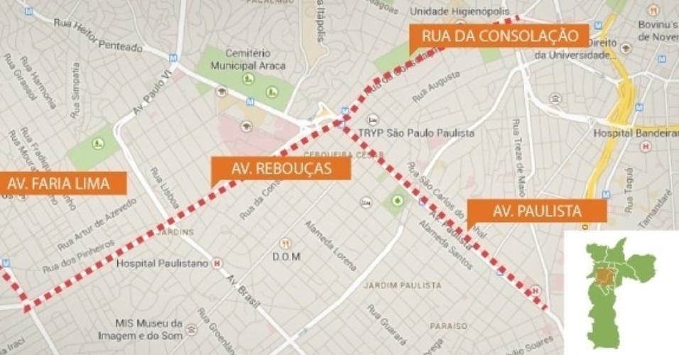 Mapa da principal rota de protestos contra a Copa em São Paulo