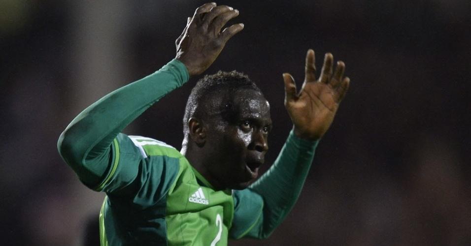 28.mai.2014 - Uche celebra seu gol, o 2° da Nigéria no empate com a Escócia