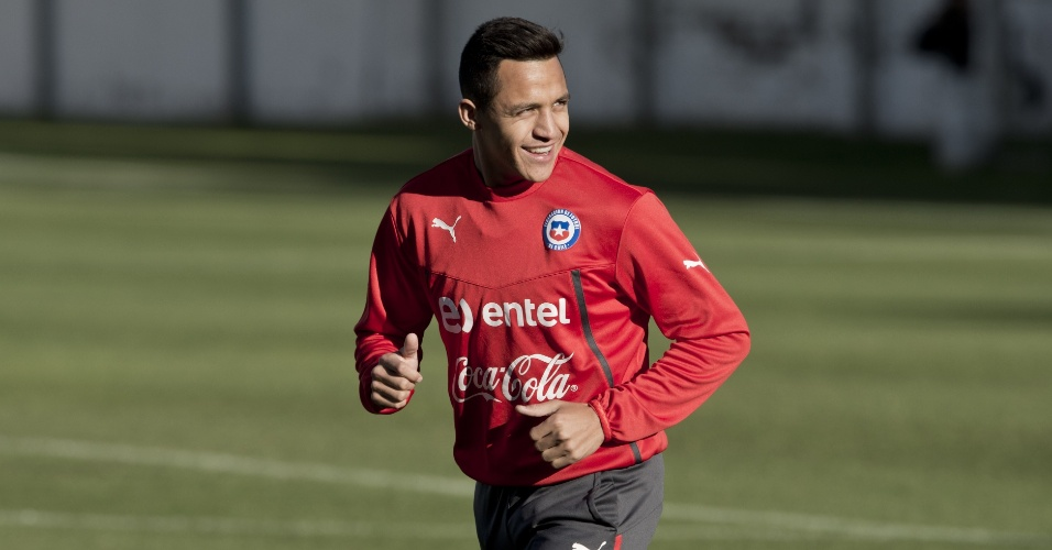 Atacante Alexis Sanchez, nos treinos do Chile para a Copa do Mundo