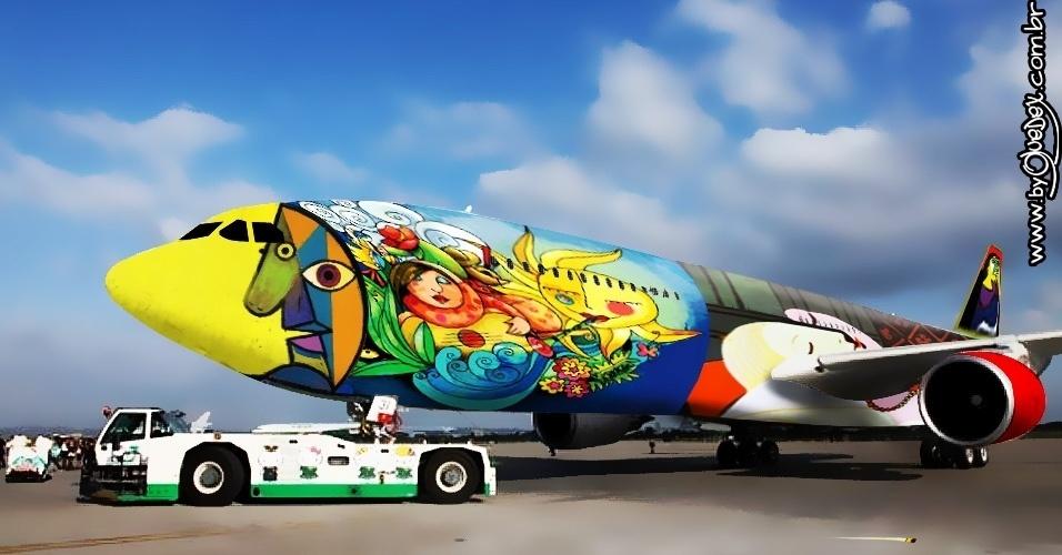 Chamar um estrangeiro para pintar o avião da seleção não faria muito sucesso com a opinião pública. Mas e se fosse Pablo Picasso? Será que o cubismo do espanhol agradaria a todos?