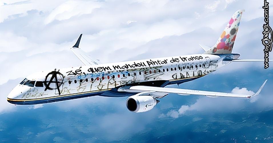 """Finalmente, o """"artista"""" anônimo das ruas. Será que o avião realmente ficaria assim se fosse deixado em branco em algum pátio aberto pelo Brasil?"""
