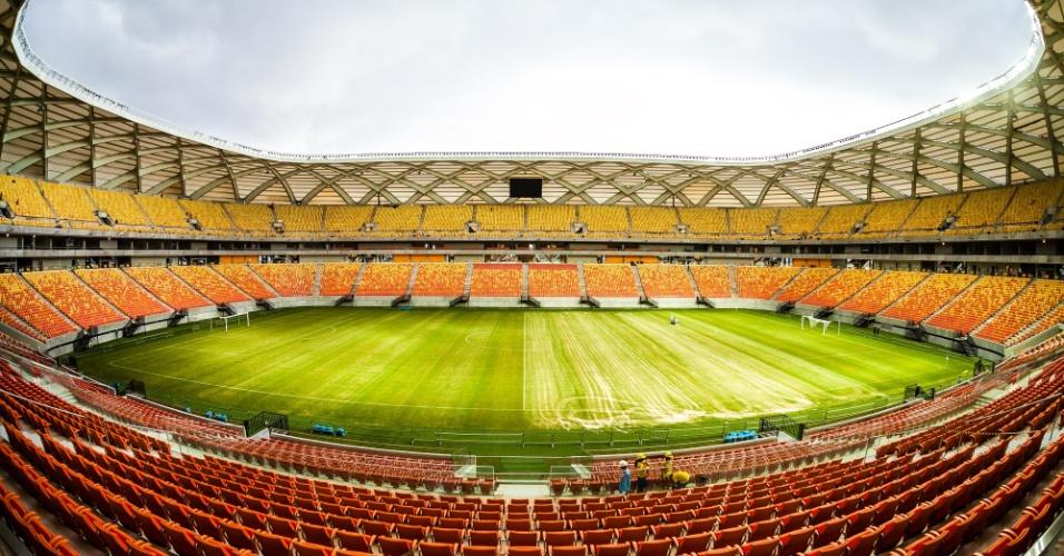 Imagem do meio-campo da Arena da Amazônia