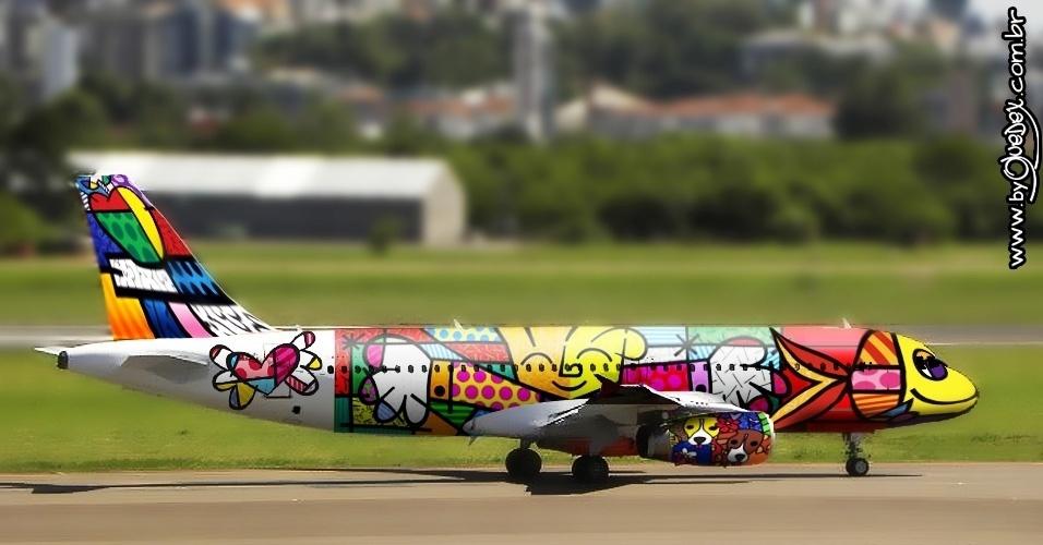 Um dos artistas mais pedidos pelos internautas foi Romero Britto, que supostamente representaria melhor os valores brasileiros. Mas, com todas essas cores, o avião poderia ser de qualquer seleção, não?