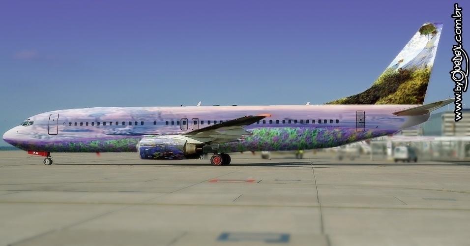 Os traços impressionistas do francês Claude Monet fariam o avião da seleção se integrar à paisagem de um céu azul