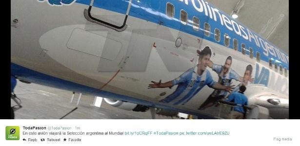 Avião da Argentina tem Messi, Higuaín e Agüero na pintura