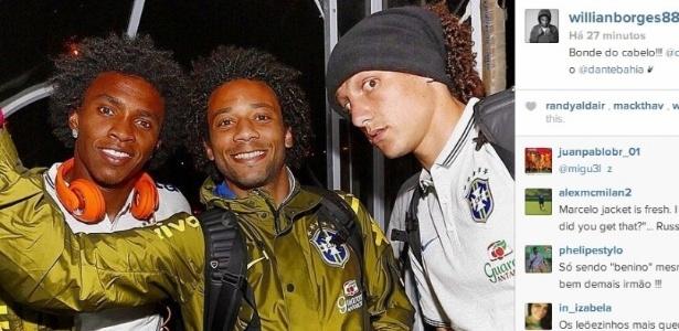 Willian posta foto do 'bonde do cabelo' ao lado de Marcelo e David Luiz. Só faltou Dante