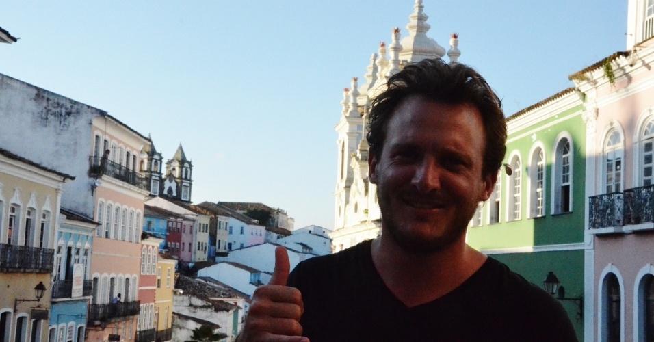 O turista francês Hugo Glaszmann vai passar três meses no Brasil