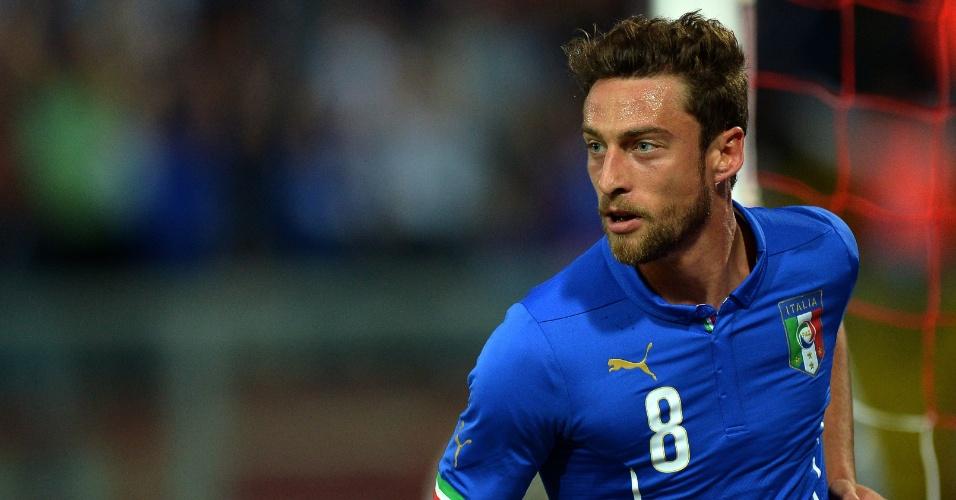Meia Claudio Marchisio, da Itália, celebra gol anotado contra Luxemburgo em Perúgia