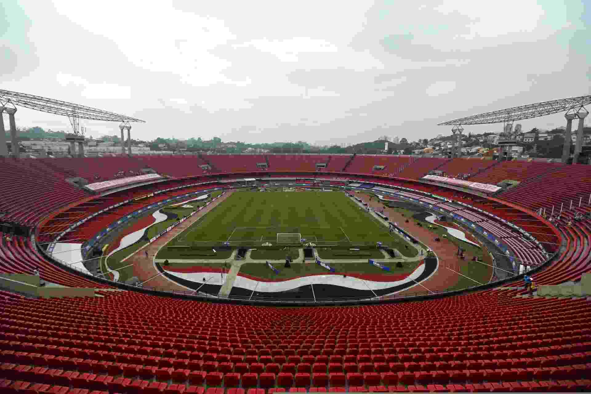 Visão geral do estádio Morumbi, em dia nublado, horas antes da partida entre Brasil e Sérvia, - Heuler Andrey/Mowa Press