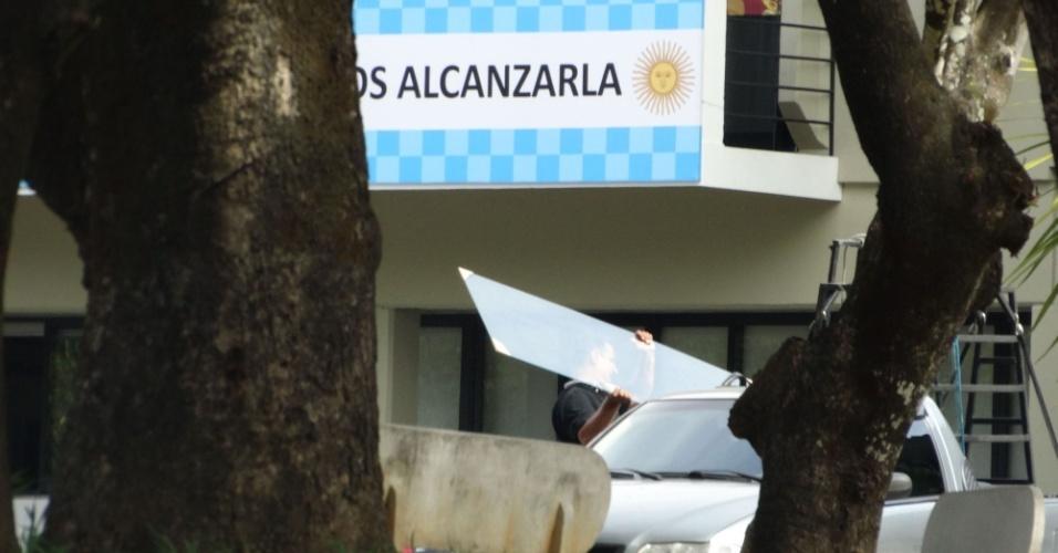 As cores do rival Cruzeiro foram colocadas no centro de treinamentos pela seleção argentina