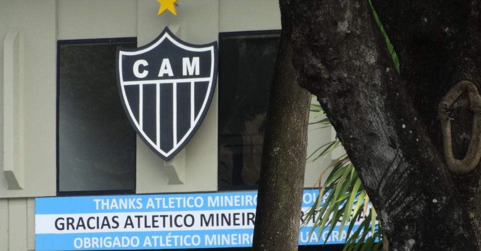 As cores do rival Cruzeiro foram colocadas no centro de treinamentos pela seleção argentina, que agradeceu ao Atlético-MG pela recepção