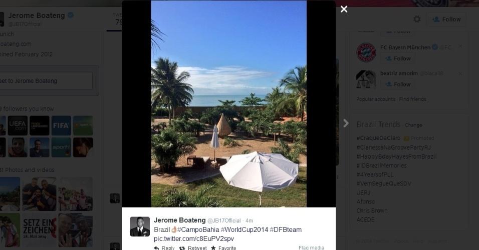 08.jun.2014 - Jerome Boateng, jogador da seleção alemã, postou uma foto da vista na concentração da Alemanha na Bahia