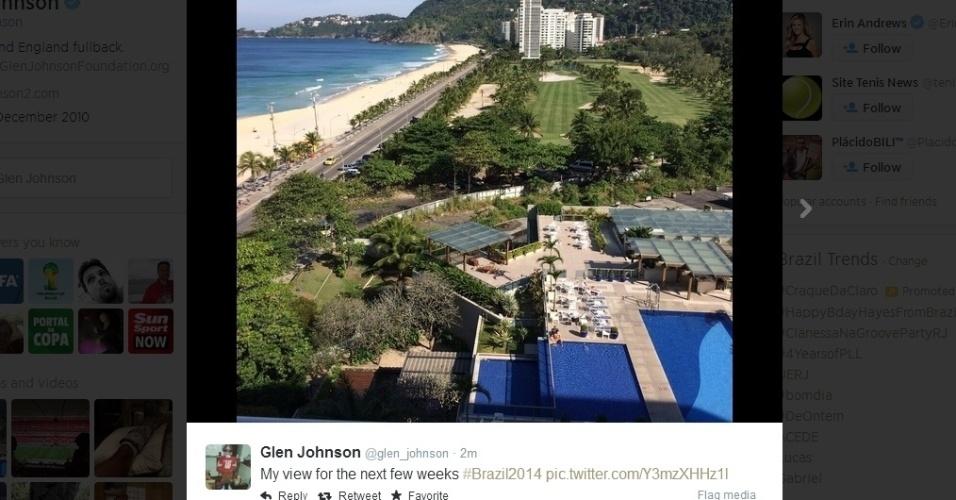 """08.jun.2014 - O jogador inglês Glen Johnson publicou uma foto da paisagem do Rio de Janeiro: """"Minha vista nas próximas semanas"""""""