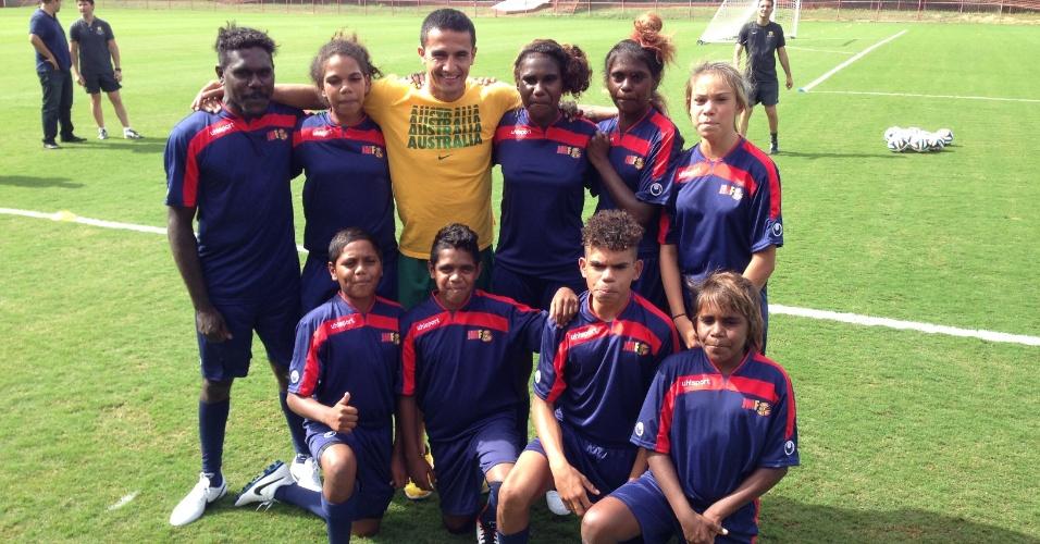 A federação australiana trouxe nove crianças aborígenes para jogar no Brasil