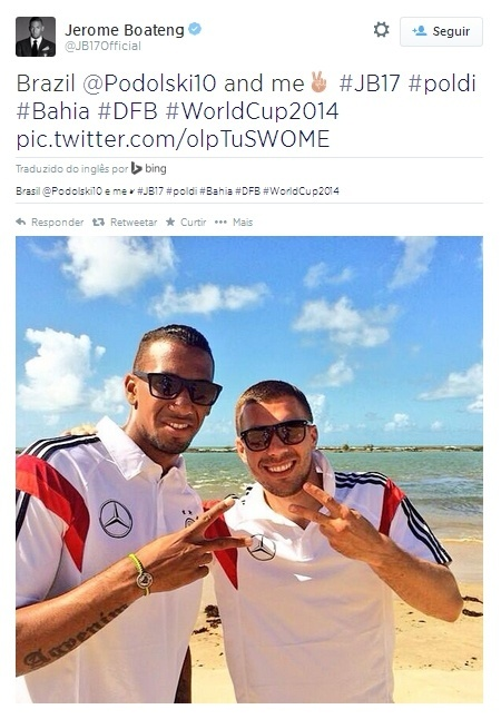 Boateng e Podolski curtem a praia na Biaha