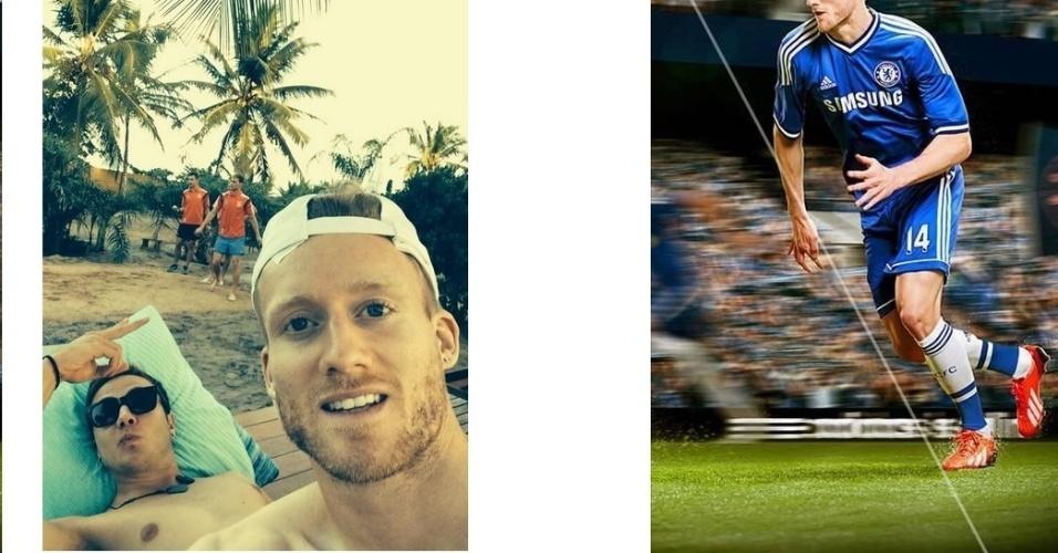 11.jun.2014 - Atacante Schürrle e meia Goetze curtem praia na Bahia após treinamento da seleção da Alemanha