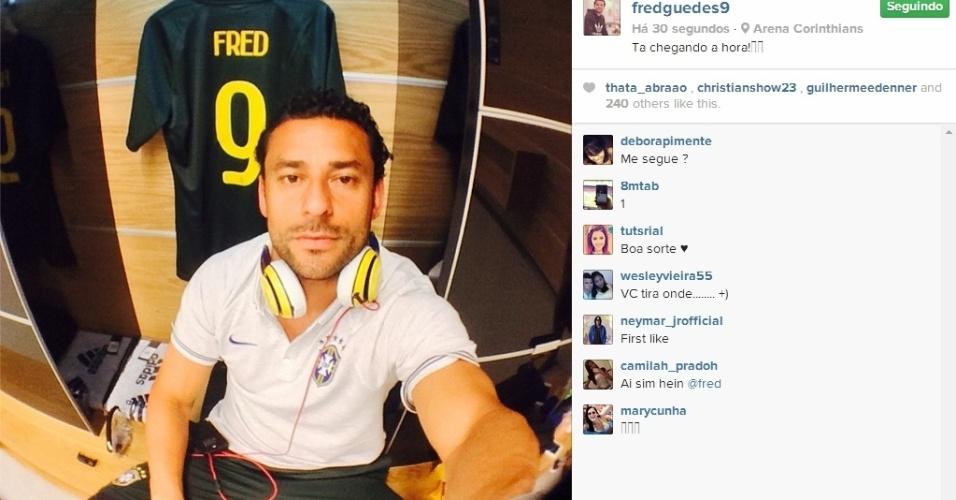 11.jun.2014 - Fred posta foto no vestiário do Itaquerão antes de treino