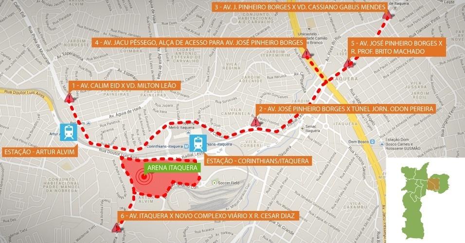 Itaquerão: mapa mostra vias interditadas (pontilhado) e área de restrição (vermelho) no entorno do estádio
