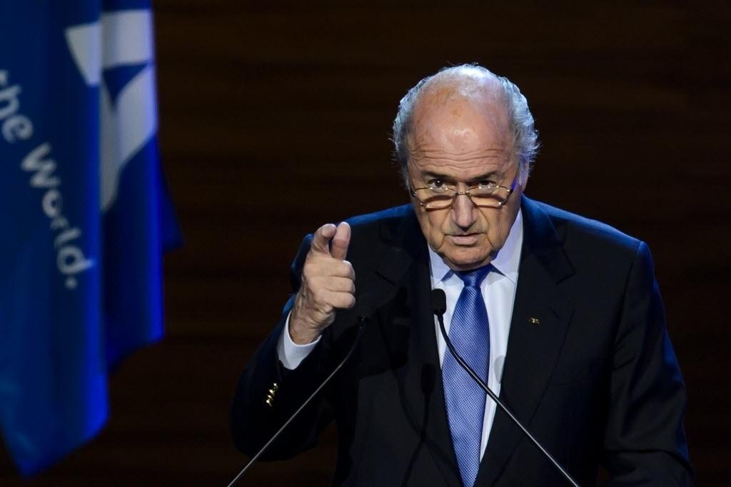 Joseph Blatter discursa durante congresso da Fifa em São Paulo