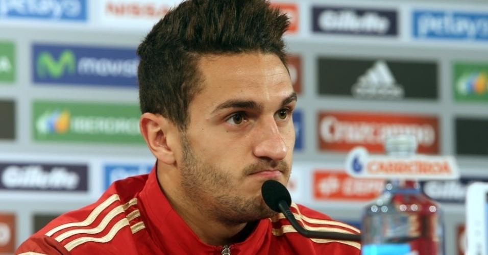 Koke fala com a imprensa durante coletiva da seleção da Espanha