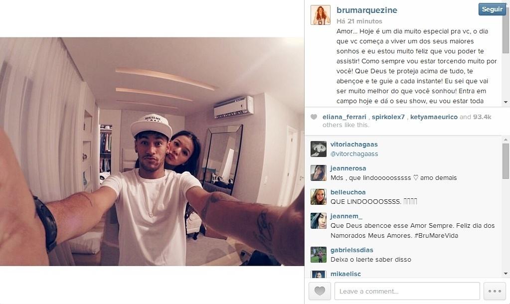 12. jun. 2014 - Bruna Marquezine manda recado amoroso pra Neymar antes de Brasil x Croácia