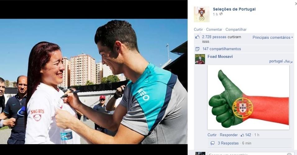 12. jun. 2014 - Cristiano Ronaldo atende torcida brasileira após treino de Portugal, em Campinas