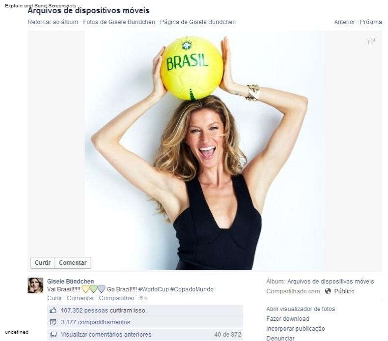 Gisele Bündchen mostrou seu apoio ao Brasil antes do jogo: