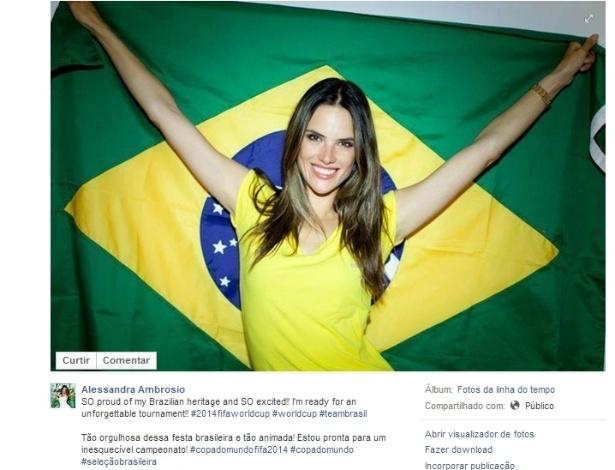 """Modelo Alessandra Ambrósio levantou a bandeira: """"Tão orgulhosa dessa festa brasileira e tão animada! Estou pronta para um inesquecível campeonato!"""""""
