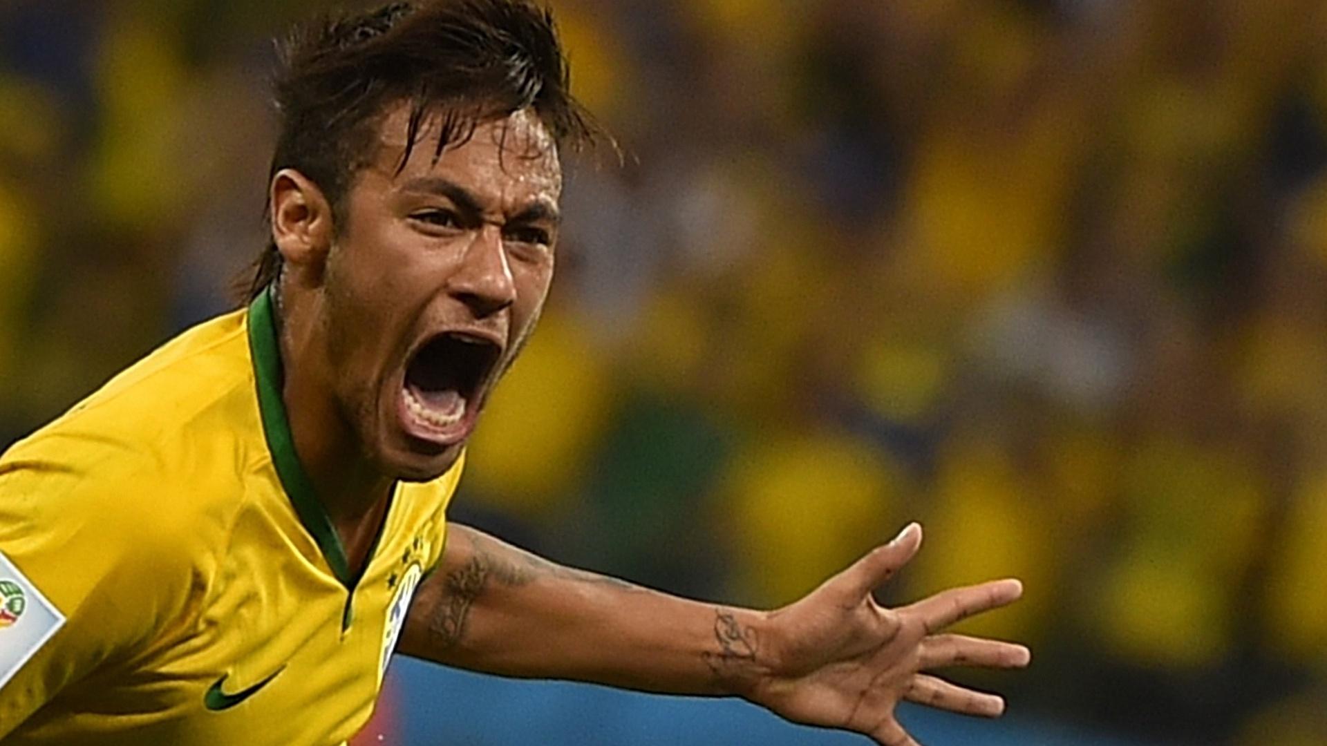 12.jun.2014 - Neymar marca no Itaquerão e vibra na vitória da seleção brasileira sobre a Croácia, por 3 a 1, na estreia da Copa